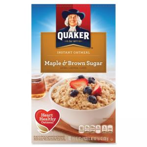 Quaker Oats Foods Instant Oatmeal - Brown Sugar Maple - Packet - 15.10 oz - 10 / Box
