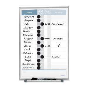 "Quartet Matrix In/Out Magnetic Board - 16"" Height x 11\"" Width - White Steel Surface"