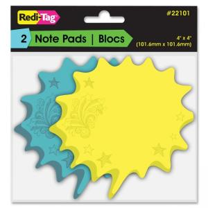 "Redi-Tag Thought Bubble Sticky Notes - Writable, Repositionable, Self-adhesive, Removable - 4"" x 4\"" - Blue, Yellow - 2Pad"