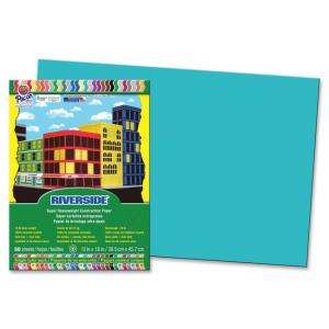 "Pacon Riverside 103626 Groundwood Construction Paper - 12"" x 18"" - Green Blue"