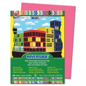 "Pacon Riverside Groundwood Construction Paper - 12"" x 9"" - Raspberry"