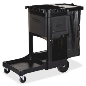 "Rubbermaid Executive Janitor Cleaning Cart - 3 Shelf - 8"", 4"" Caster - 21.8"" x 46"" x 38"" - Black"
