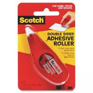 "Scotch Double-Sided Adhesive Roller - 0.27"" Width x 26 ft Length - Adhesive - 1 Each - Clear"