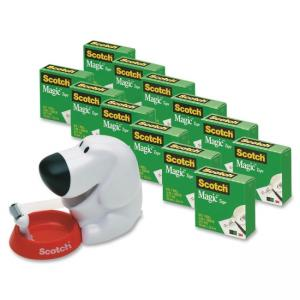 "Scotch Magic Tape Dog Dispenser Value Pack - Holds Total 1 Tape(s) - 1"" Core - Refillable - White, Red"