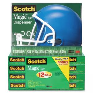 "Scotch Magic Tape Helmet Dispenser Pack - 0.75"" Width x 83.33 ft Length - Plastic - Writable Surface, Easy Tear, Photo-safe - D"