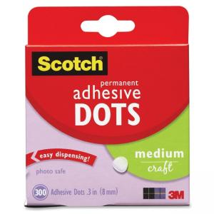 Scotch Medium Craft Permanent Adhesive Dots - Photo-safe, Permanent Adhesive - 300 / Box - Clear