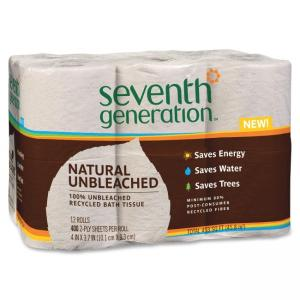 "Seventh Generation Recycled Unbleached Bathroom Tissue - 2 Ply - Natural Scent - 400 Sheet - 12 Roll - 4"" x 3.70\"" - Natural"