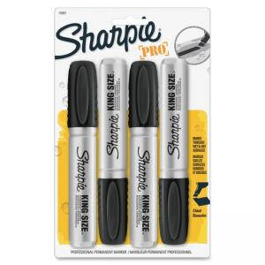 Sharpie King Size Permanent Markers - Chisel Marker Point Style - Black Ink - 4 / Pack