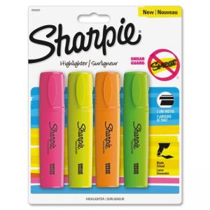 Sharpie Smear Guard Blade Highlighter - Chisel Marker Point Style - Assorted Ink - 4 / Pack