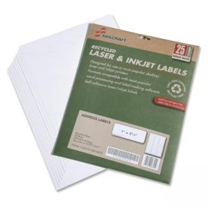 "Skilcraft 7530-01-578-9292 Address Label - 1"" Width x 2.62\"" Length - 25 / Pack - Rectangle - 30/Sheet - Laser, Inkjet - White"