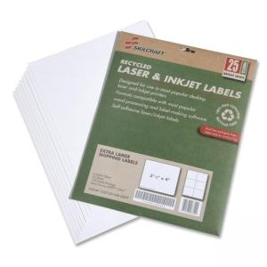 "Skilcraft 7530-01-578-9295 Extra Large Shipping Label - 3.33"" Width x 4\"" Length - 25 / Pack - Rectangle - 6/Sheet - Laser, Ink"