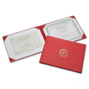 "Skilcraft Award Certificate Binder With Gold Marine Crops Seal - Letter - 8.5"" x 11\"" - 2 - 1 Each - Red"