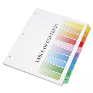 "Skilcraft Binder Tabbed Index Sheet - Printed 1-10 - 8.5"" x 11\"" - 10 / Set - Assorted Divider - Assorted Tab"