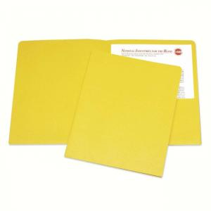 "Skilcraft Double Pocket Portfolio - Letter - 8.5"" x 11\"" - 0.68\"" ExpansionSheet - 25 / Box - Yellow"