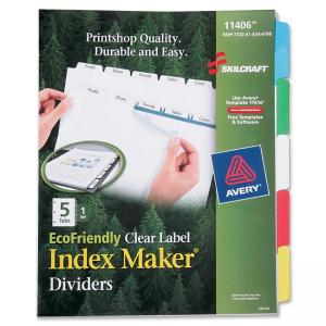 Skilcraft EcoFriendly Clear Label Index Divider - 20 / Set - Multicolor Tab