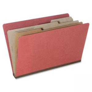 "Skilcraft Eight Section Classification Folder - Legal - 8.5"" x 14\"" - 6 Dividers - 3\"" Expansion - 10 / Pack - Earth Red"