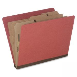 "Skilcraft Eight Section Classification Folder - Letter - 8.5"" x 11\"" - 6 Dividers - 3\"" Expansion - 10 / Pack - Earth Red"