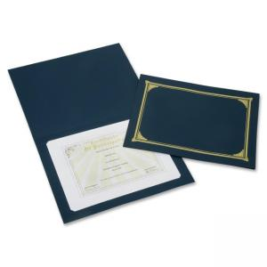 "Skilcraft Heavy Linen Document Cover Holders - Letter, A4 - 8.50"" x 11"", 17.50 ft x 24.75 ft - Linen - Blue - 1 Pack"