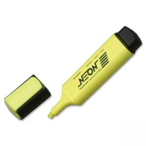 SKILCRAFT Neon Yellow Highlighter - Chisel Marker Point Style - Fluorescent Yellow Ink - 12 / Dozen