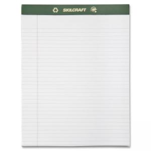 "Skilcraft Perforated Chlorine Free Writing Pad - 50 Sheet - 20lb - Ruled - Letter 8.5"" x 11\"" - 12 / Dozen - White"
