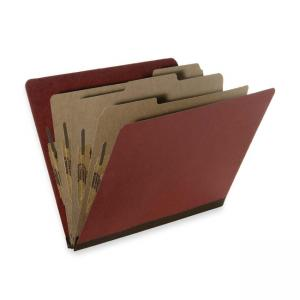 "Skilcraft Pressboard Classification Folder - Letter - 8.5"" x 11\"" - 2 Dividers - 2\"" Expansion - 10 / Box - 25pt. - Earth Red"