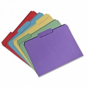 "Skilcraft Recycled Single-ply Top Tab File Folder - Letter - 8.5"" x 11\"" - 1/3 Tab Cut - 0.75\"" Expansion - 100 / Box - 11pt. -"