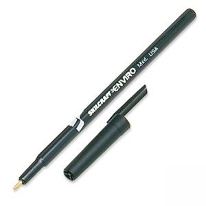 Skilcraft Stick Type Recycled Ballpoint Pen - Black Ink - Black Barrel - 12 / Box