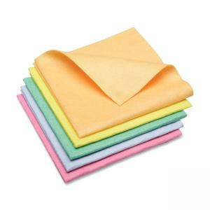 "Skilcraft Synthetic Shammy Cleaning Cloth - 5 / Pack - 15"" x 15\"" - Green, Yellow, Blue, Orange, Salmon"