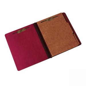 "Skilcraft Three Section Pressboard File Folder - 1/3 Tab Cut - 2 Dividers - 3"" Expansion - 6 Fastener - 1 Each - Red"
