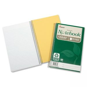 "Skilcraft Three-subject Spiral Notebook - 150 Sheet - 17 lb - College Ruled - 6"" x 9.50\"" - 3 / Pack - White Paper"