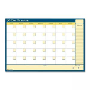 "Skilcraft Undated 30/60 Day Flexible Planner - Monthly - 42"" x 32\"" - Paper - White"