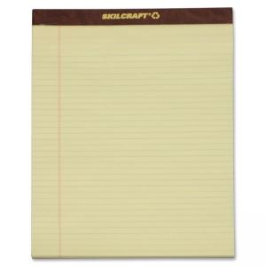 "Skilcraft Writing Pad - 50 Sheet - 16lb - Legal/Narrow Ruled - Letter 8.5"" x 11.75\"" - 12 / Dozen - Canary"