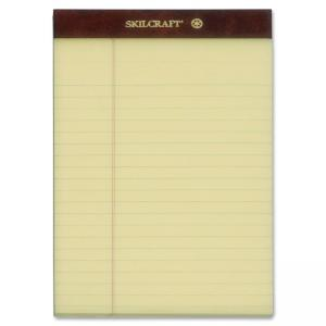 "Skilcraft Writing Pad - 50 Sheet - 16lb - Legal/Narrow Ruled - Jr.Legal 5"" x 8\"" - 12 / Dozen - Canary"