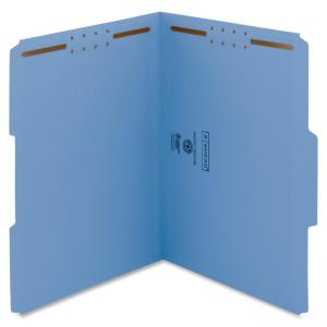 "Smead 100% Recycled Fastener File Folder 12041 - Letter - 8.50"" x 11\"" - 1/3 Tab Cut on Assorted Position - 2 - 11 pt. - Blue"