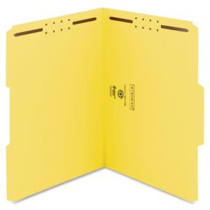 "Smead 100% Recycled Fastener File Folder 12941 - Letter - 8.50"" x 11\"" - 1/3 Tab Cut on Assorted Position - 2 - 11 pt. - Yellow"