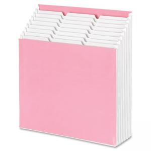 Smead Stadium® File 70209 - 12 Pockets - Card Stock - Pink, White - 1 Each