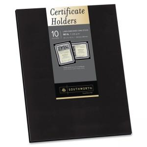 "Southworth Certificate Jacket and Holder - Letter - 8.50"" x 11\"" - Linen - Black - 10 / Pack"