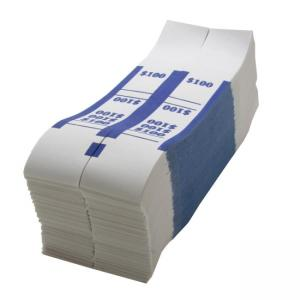 Sparco $100 Bill Strap - White - Blue - 1000 / Box