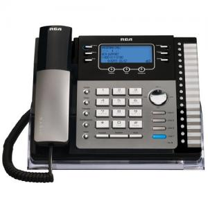 GE 4-Line Corded Expandable Phone 4x Phone Line(s) - LCD - Black, Silver