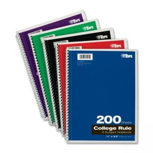 "TOPS 5-Subject Notebook - 200 Sheet - College Ruled - Letter 8.50"" x 11"" - 1 Each - Bright White Paper"