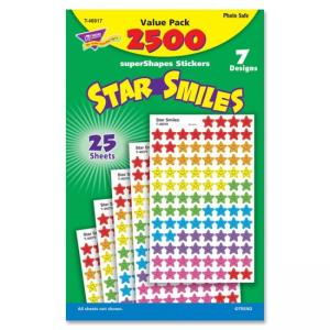 Trend superShapes Star Smiles Stickers - 2500 Star - Assorted