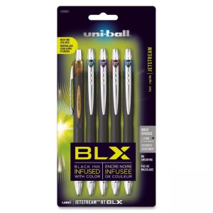 Uni-Ball Jetstream RT Pen - Bold Pen Point Type - 1 mm Pen Point Size - Conical Pen Point Style - Blue, Brown, Purple, Green, Re
