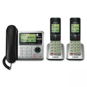 Vtech CS6649-2 Cordless Phone - DECT 6.0 - 1 x Phone Line - 2 x Handset - Answering Machine - Caller ID - Speakerphone - Backlig