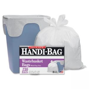 "Webster Handi Bag Waste Liners - 8 gal - 21.50"" x 24\"" - 0.60 mil (15 µm) Thickness - Resin - 130/Box - White"