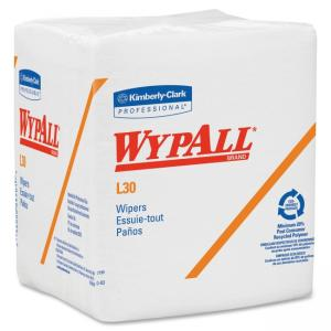 "Kimberly-Clark Wypall L30 Light Duty Wipers - 90 Per Pack - 12/Carton - 12.50"" x 13"" - White"