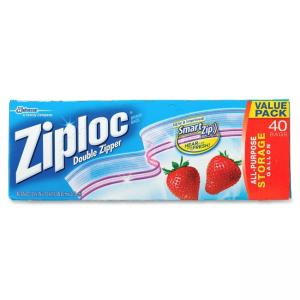 Oust Ziploc One Gallon Storage Bags - 1 gal - 2.70 mil (69 µm) Thickness - Plastic - 40/Box - Clear